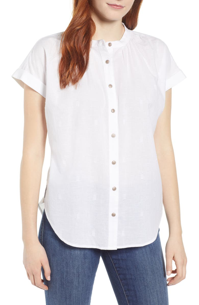 CASLON<SUP>®</SUP> Jacquard Camp Shirt, Main, color, WHITE