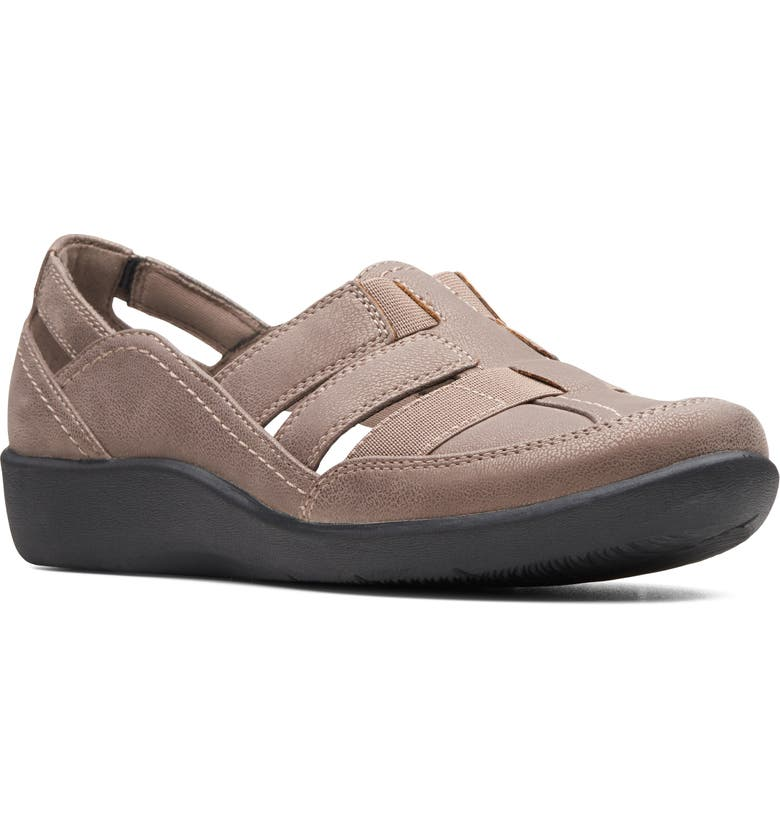 CLARKS<SUP>®</SUP> Sillian Stork Flat, Main, color, BROWN SYNTHETIC NUBUCK
