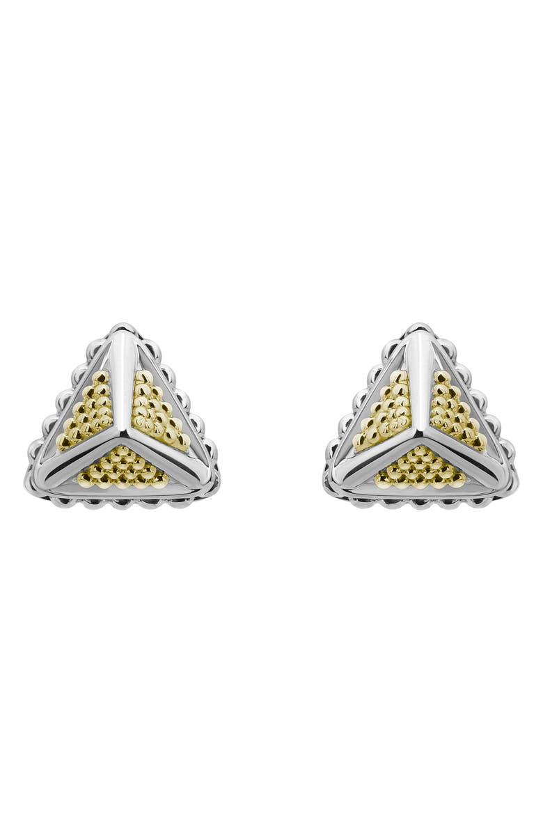 LAGOS Two-Tone Pyramid Stud Earrings, Main, color, SILVER
