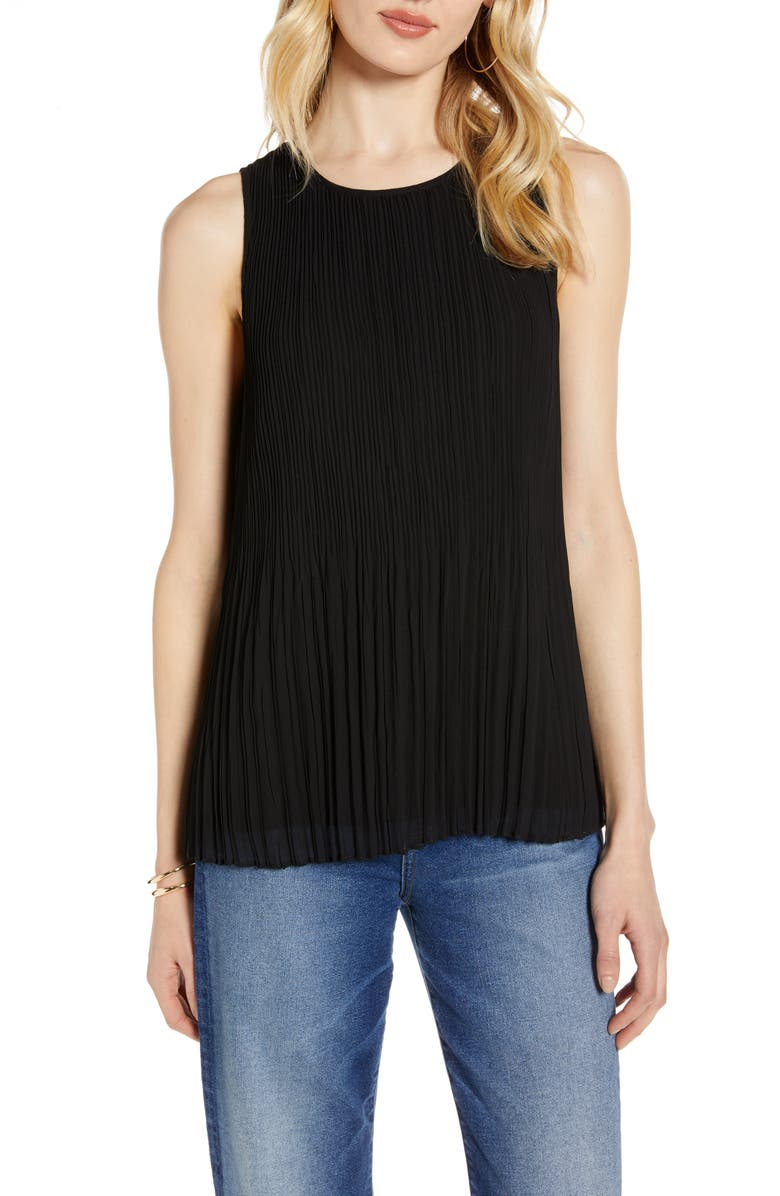 HALOGEN<SUP>®</SUP> Sleeveless Pleated Georgette Top, Main, color, BLACK
