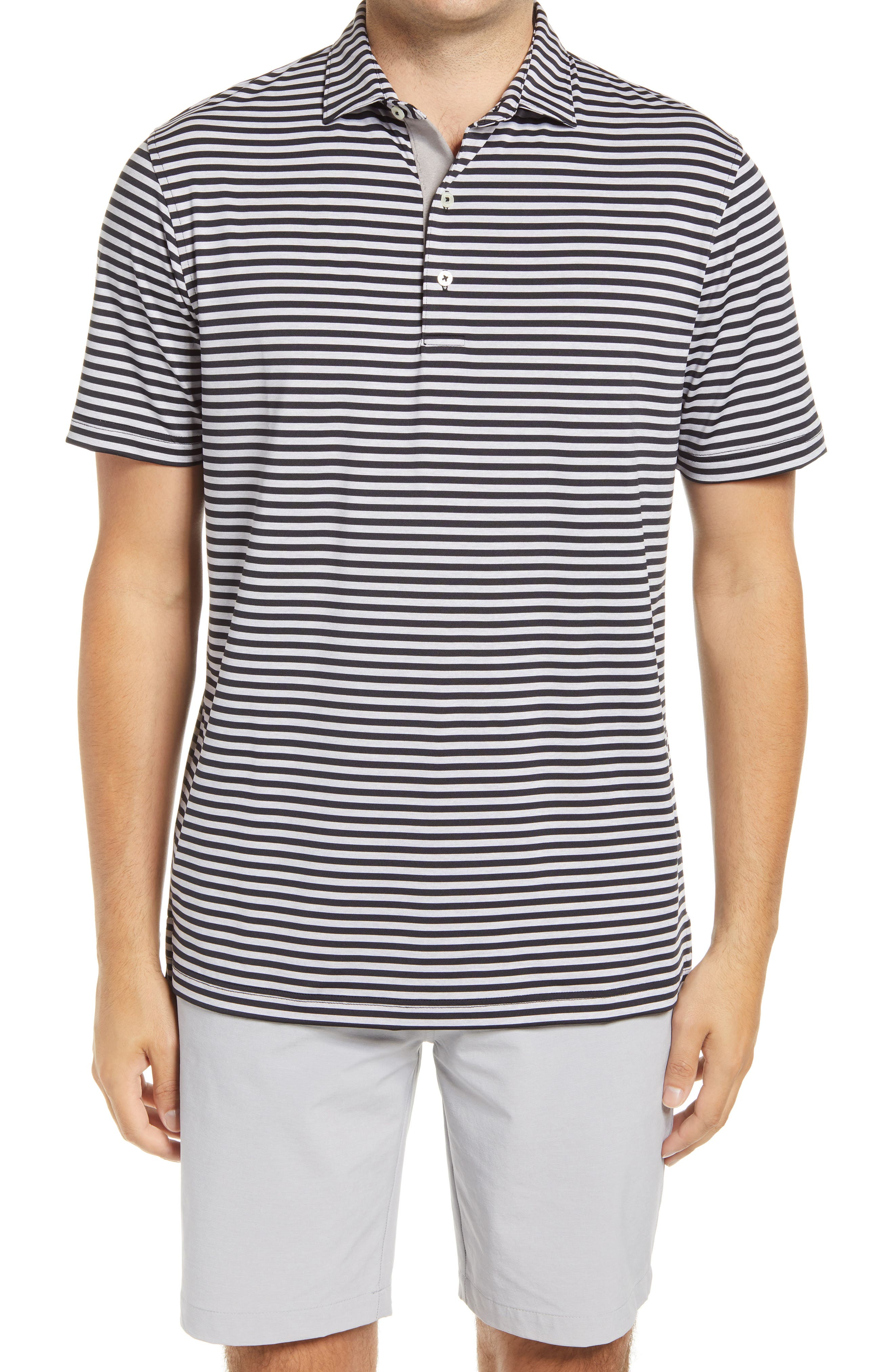 Smith Classic Fit Stripe Performance Polo