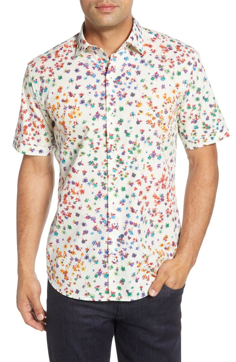 BUGATCHI Shaped Fit Button-Up Sport Shirt, Main, color, CHALK