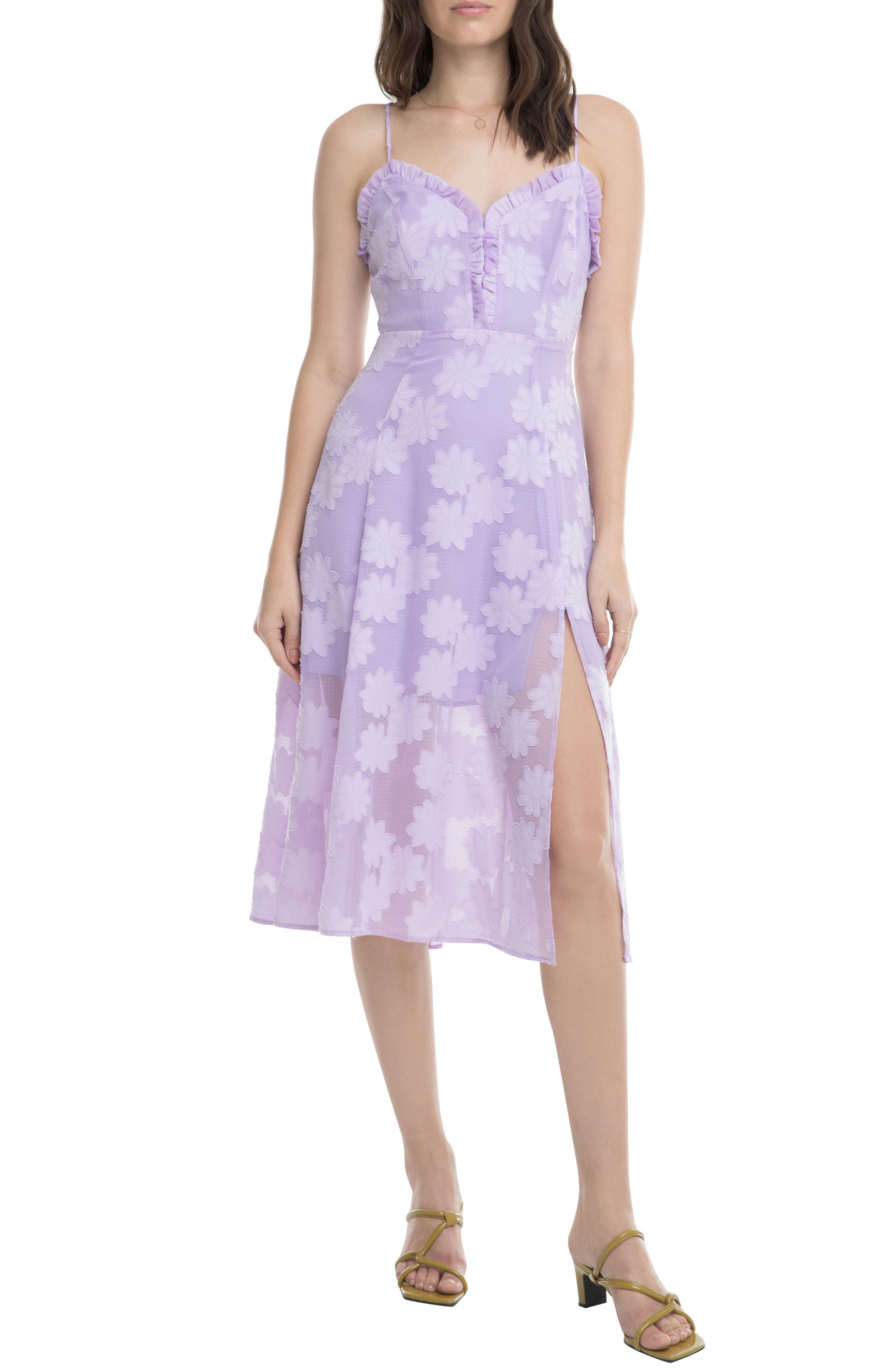 Astr The Label Elaina Floral Applique Sundress, Purple