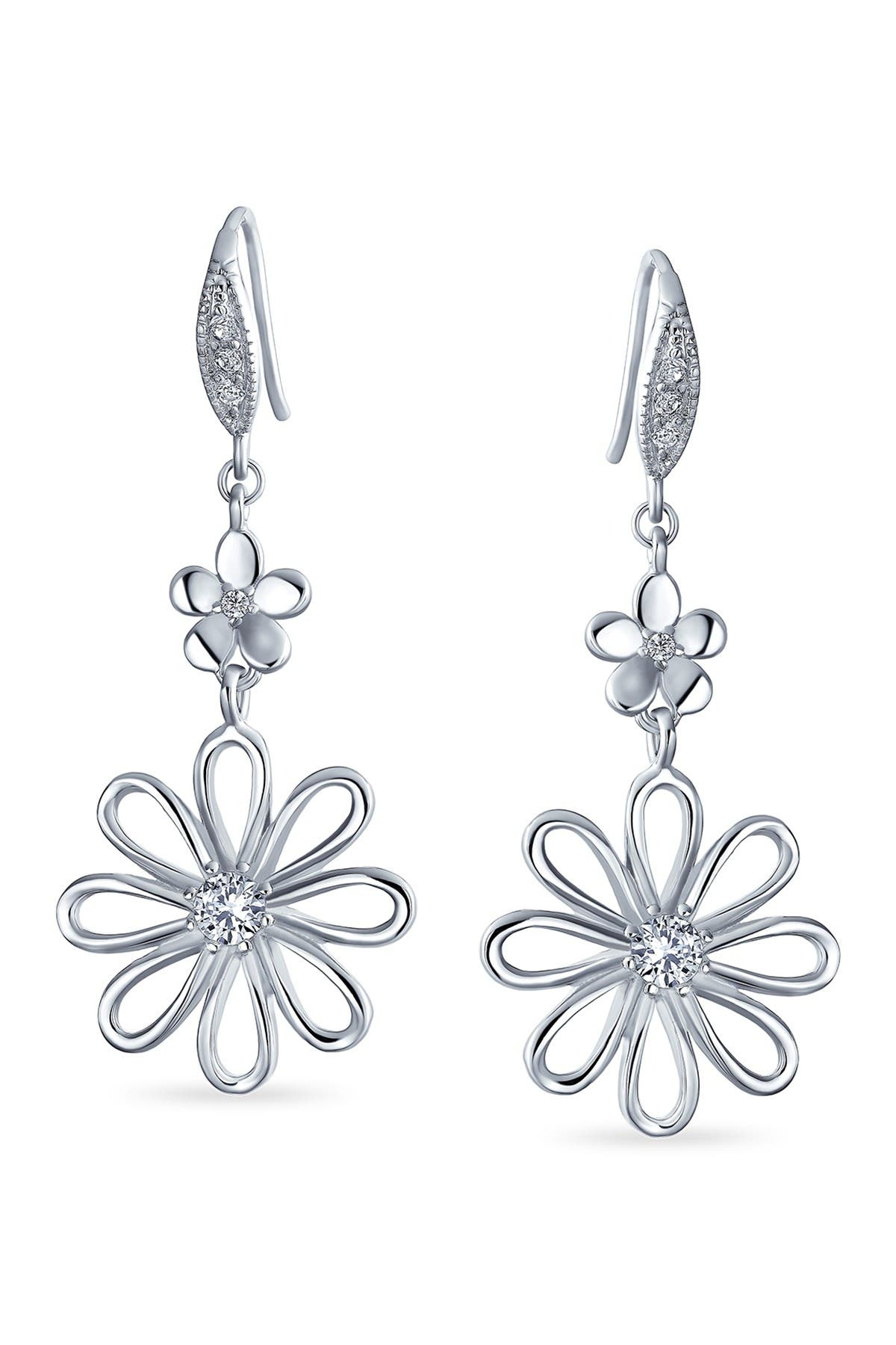 Image of Bling Jewelry Bridal Daisy CZ Dangle Earrings
