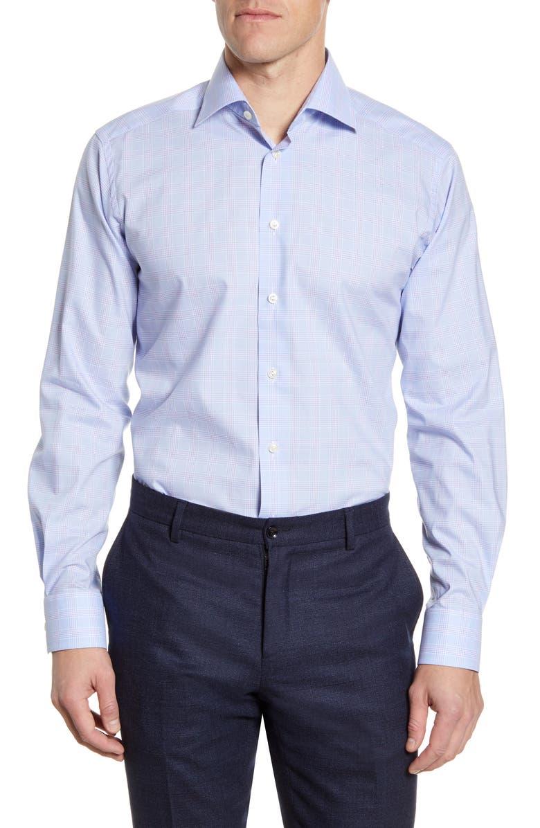 ETON Contemporary Fit Plaid Dress Shirt, Main, color, PURPLE