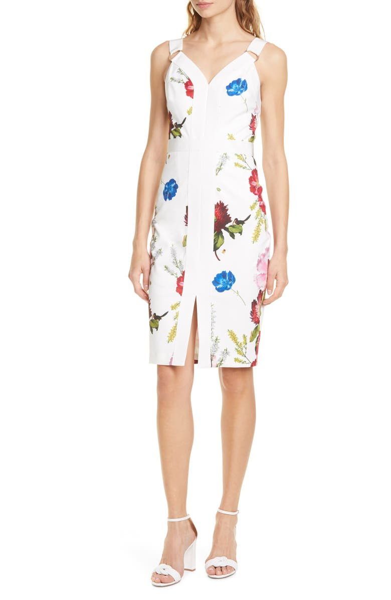 TED BAKER LONDON Amylia Floral Sheath Dress, Main, color, WHITE