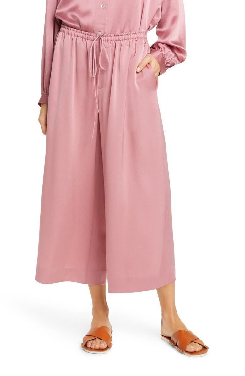 VINCE Satin Culottes, Main, color, ROSE ROOT