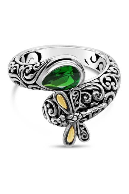 Image of DEVATA 18K Gold Accent Sterling Silver Sweet Dragonfly Embellished CZ Ring