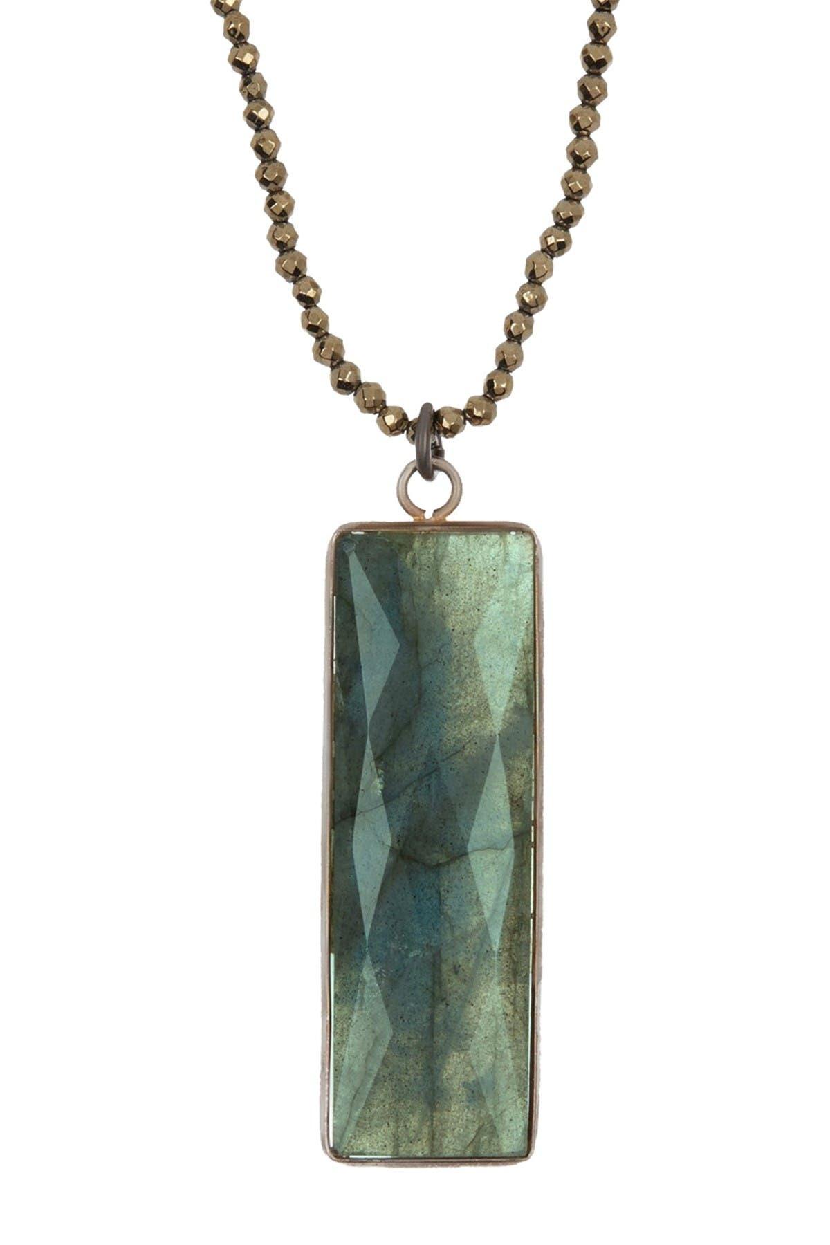 Malachite and Pyrite Triangular Pendant Necklace