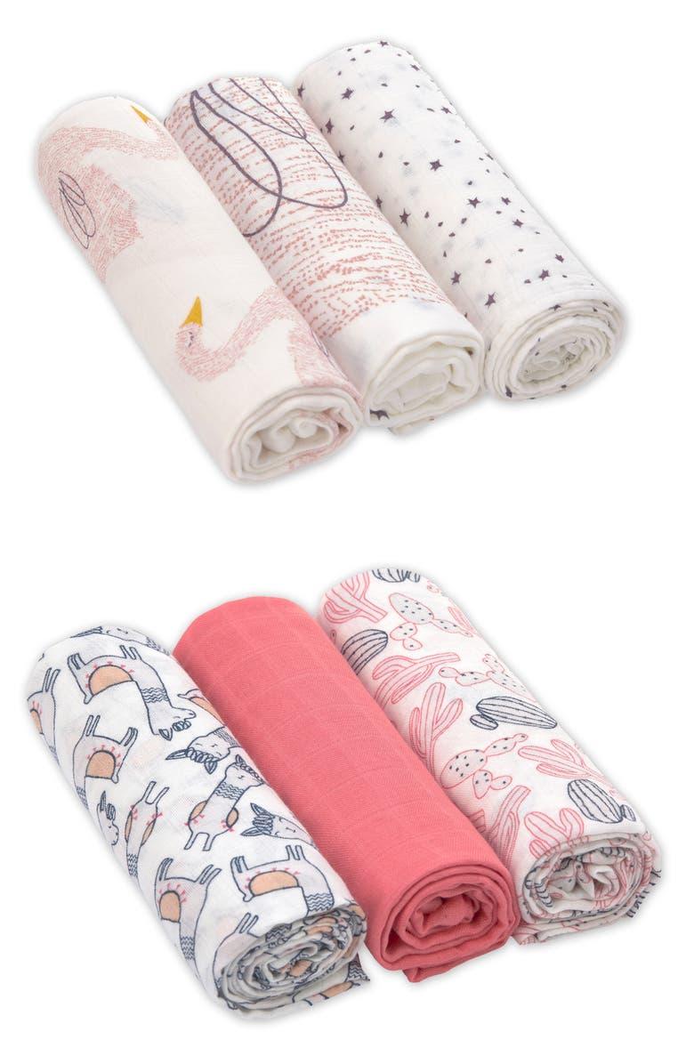 LÄSSIG Heavenly Soft 6-Pack XL Cotton Muslin Swaddles, Main, color, 950