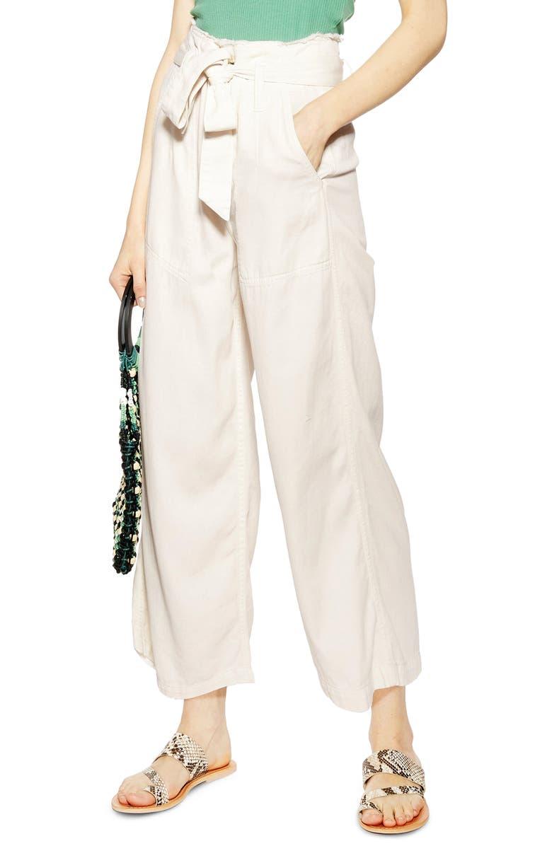 TOPSHOP Tie Waist Wide Leg Pants, Main, color, CREAM