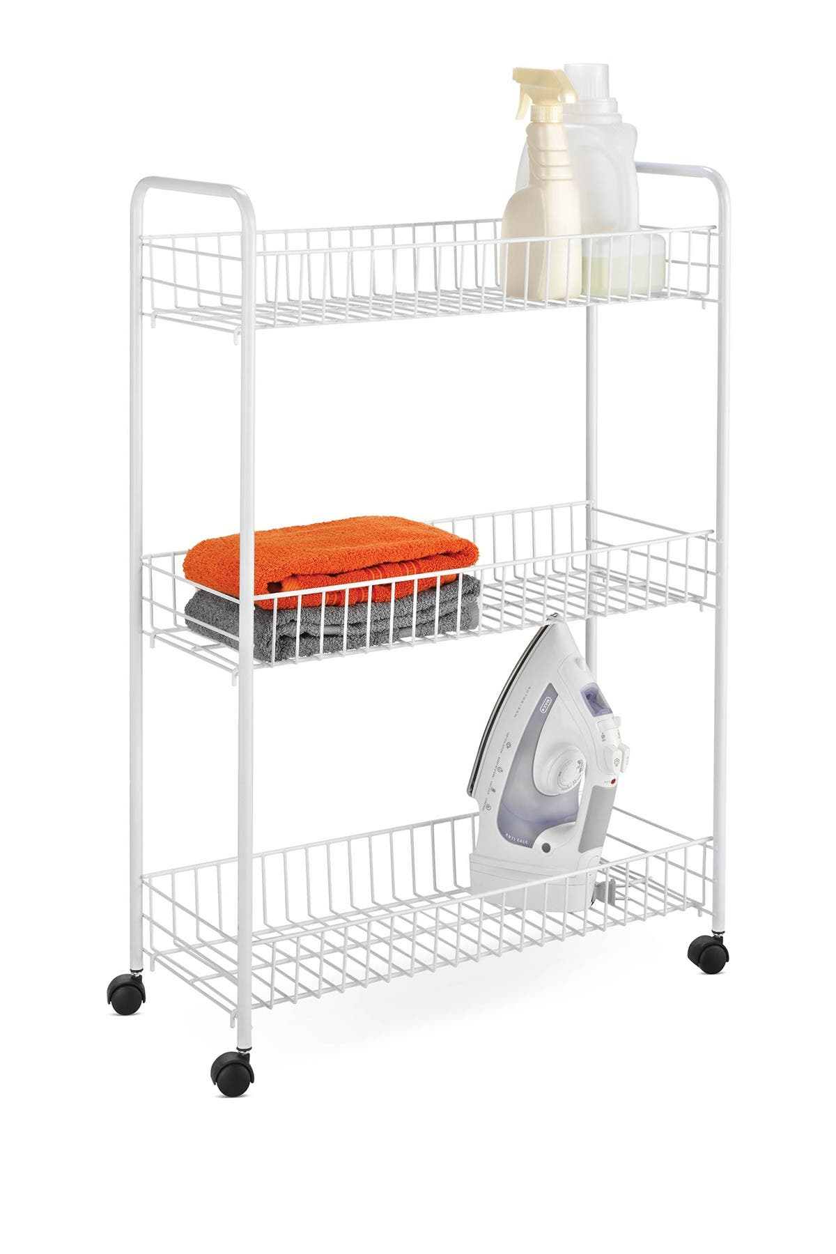 Image of Honey-Can-Do 3-Tier Rolling Laundry Cart - White