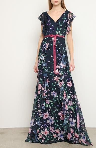 Floral Jacquard Chiffon Gown, video thumbnail