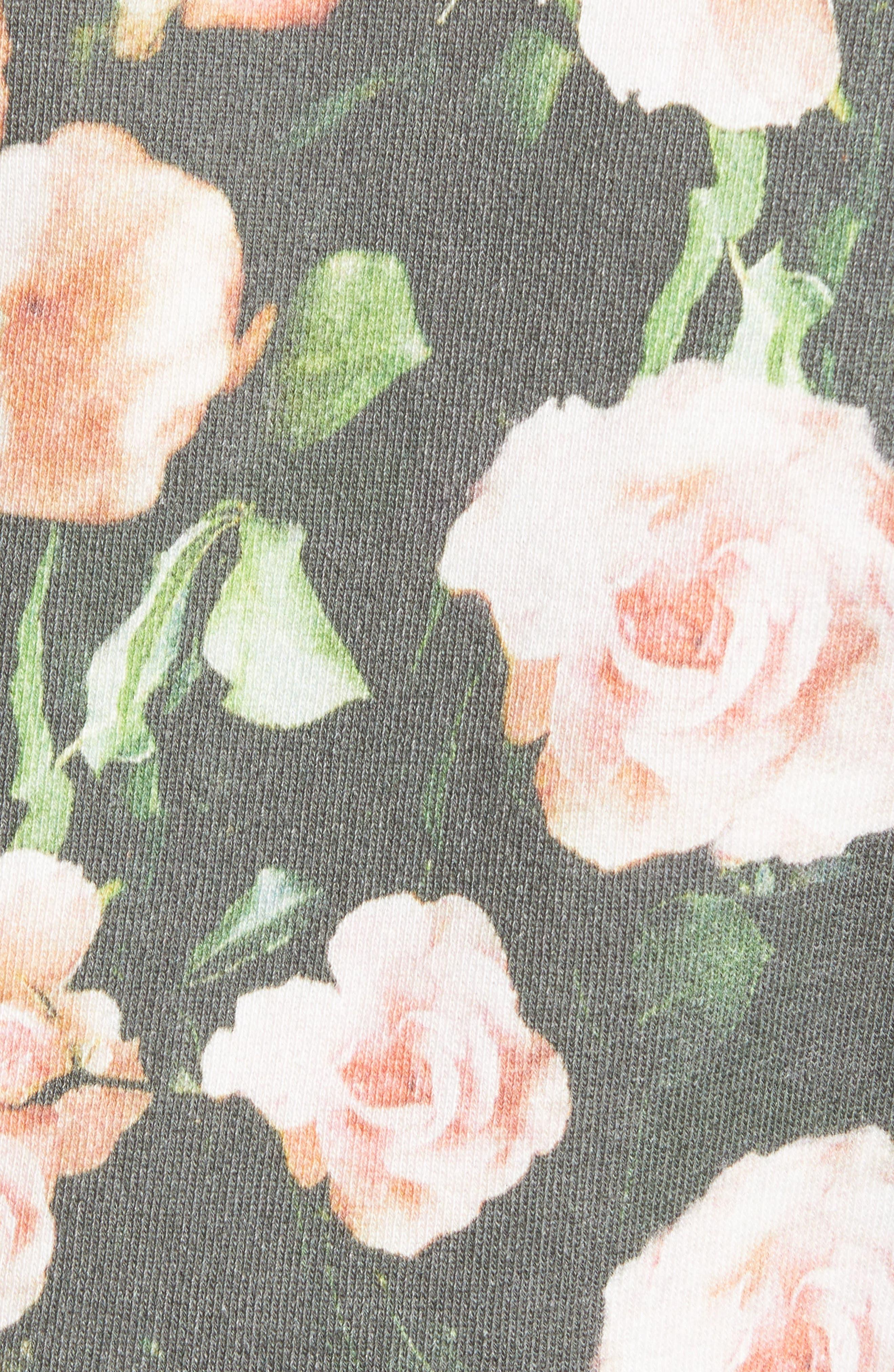 ,                             Love Roses Sweatshirt,                             Alternate thumbnail 5, color,                             BLACK MULTI