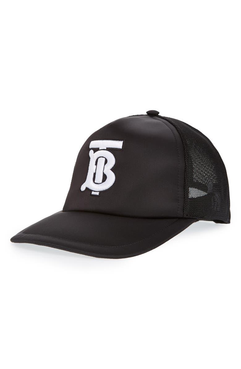 BURBERRY Puffer Nylon Baseball Cap, Main, color, BLACK