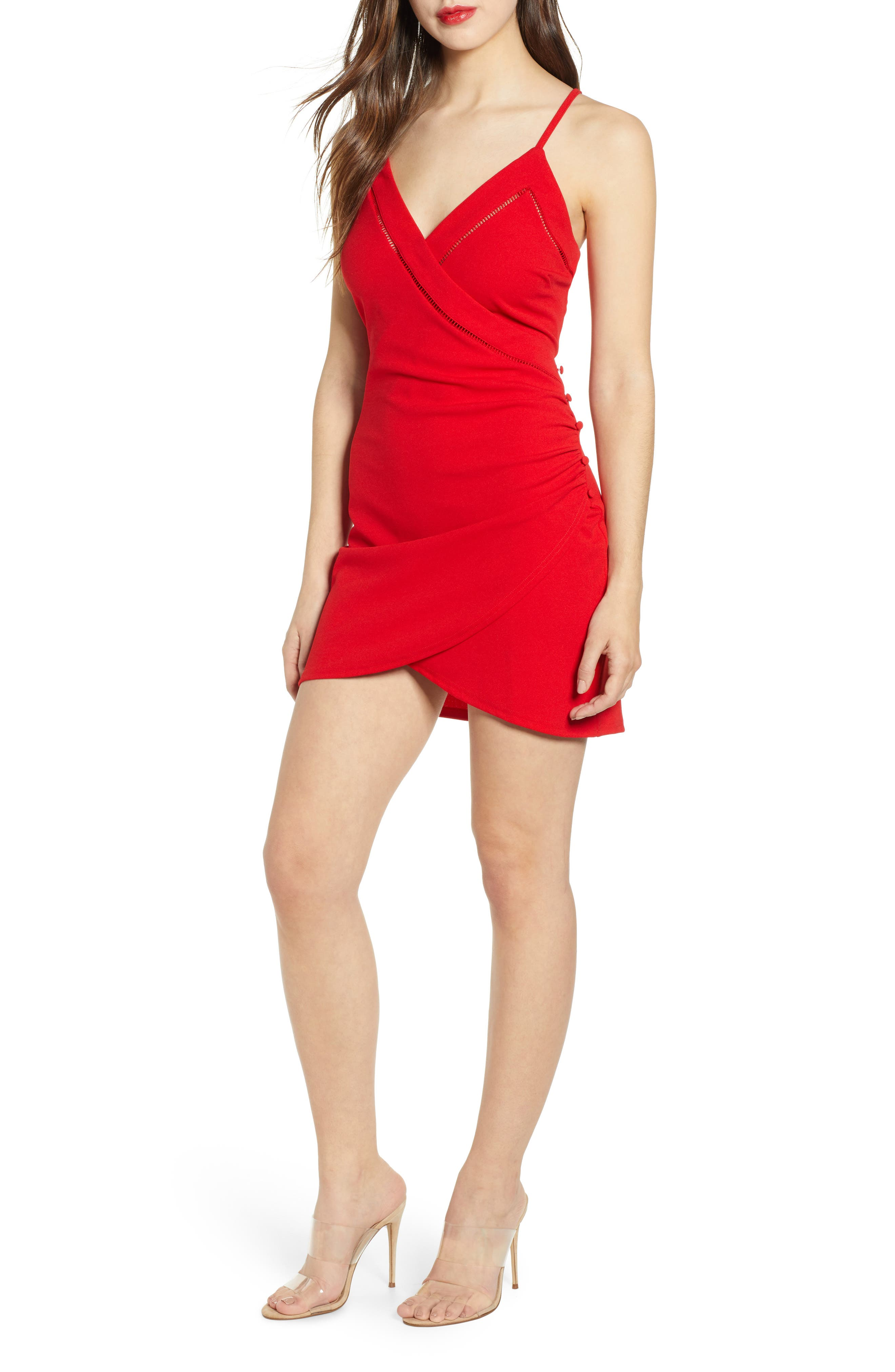 J.o.a. Wrap Minidress, Red