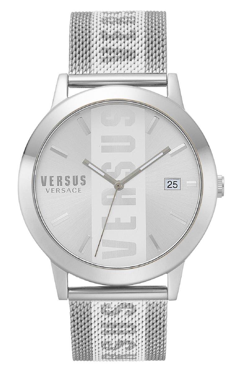 VERSUS VERSACE Barbes Logo Mesh Watch, 44mm, Main, color, SILVER
