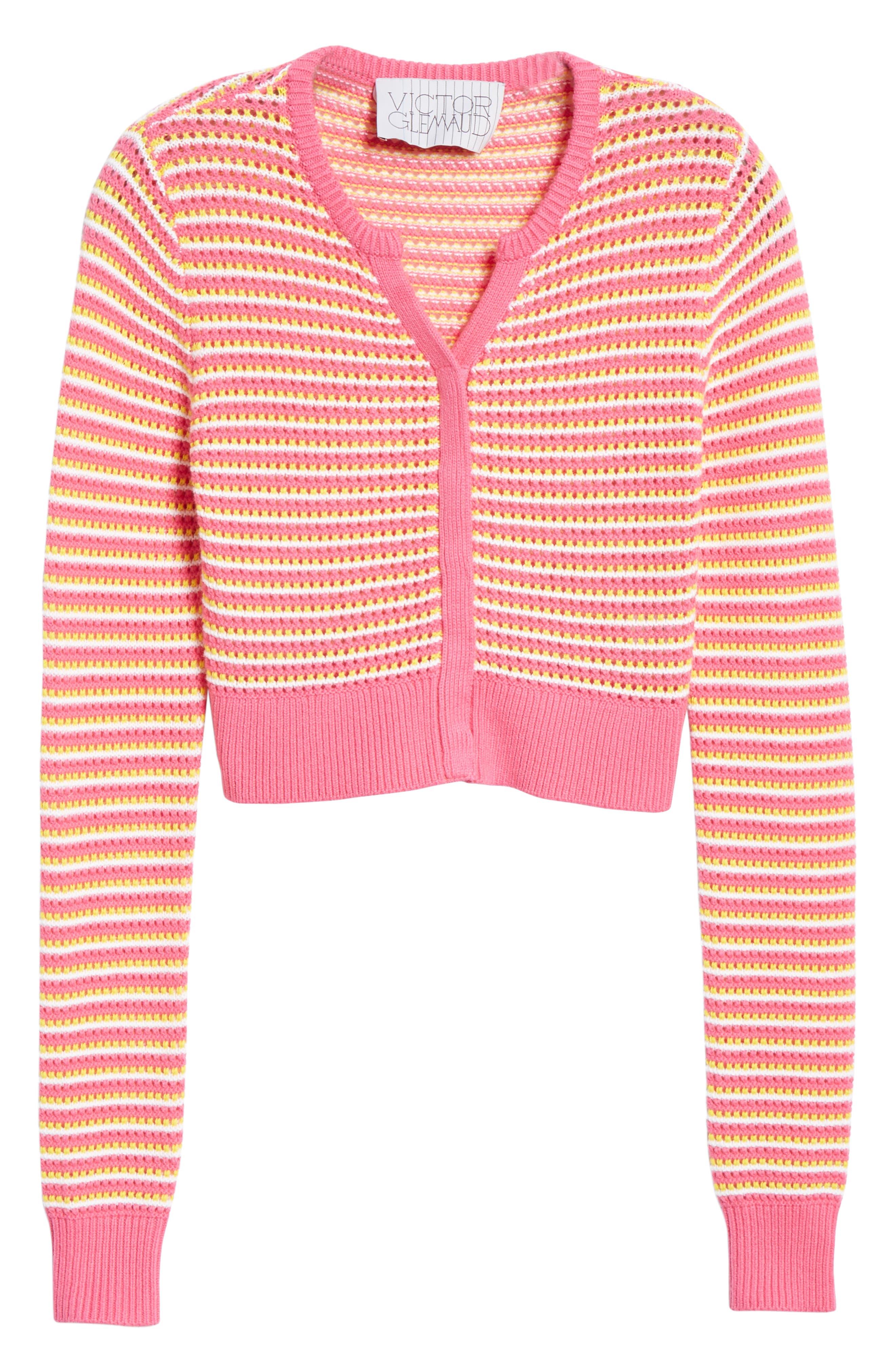 ,                             Stripe Cotton & Cashmere Button Cardigan,                             Alternate thumbnail 6, color,                             WHITE PINK COMBO