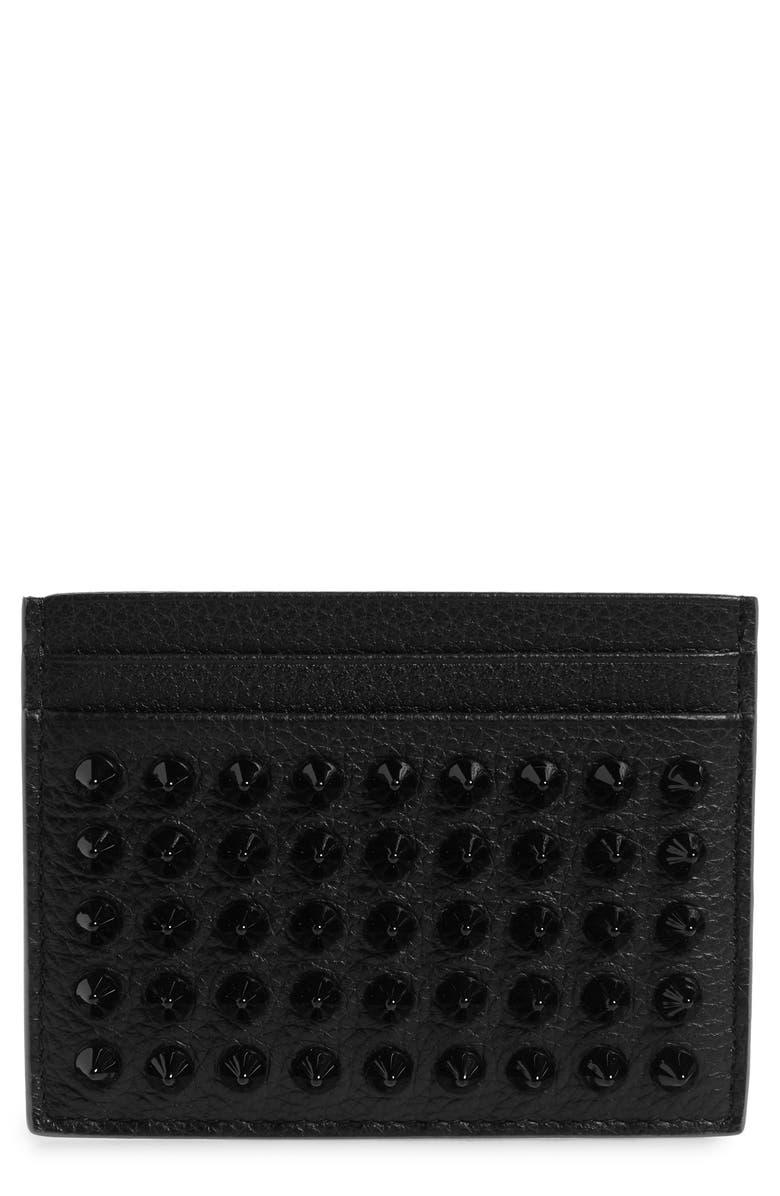 CHRISTIAN LOUBOUTIN Kios Spikes Calfskin Leather Card Case, Main, color, BLACK/ BLACK