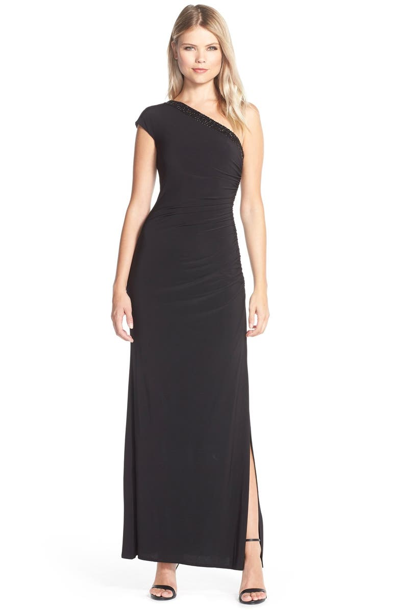 LAUNDRY BY SHELLI SEGAL Beaded One-Shoulder Jersey Gown, Main, color, 001