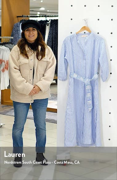 Stripe Linen Midi Shirtdress, sales video thumbnail