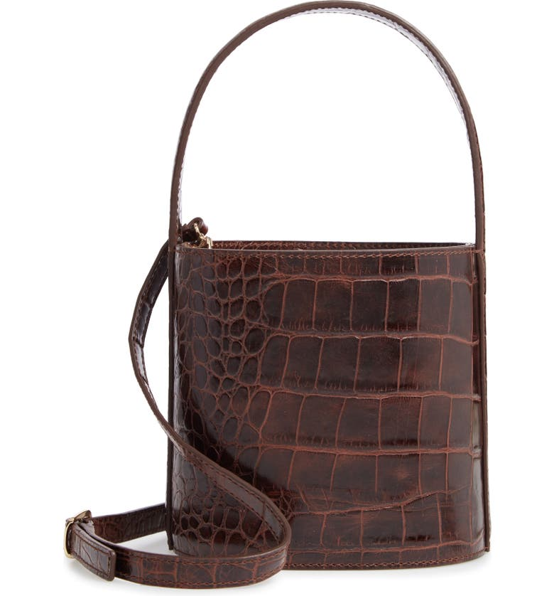 STAUD Bissett Croc Embossed Leather Bucket Bag, Main, color, 200