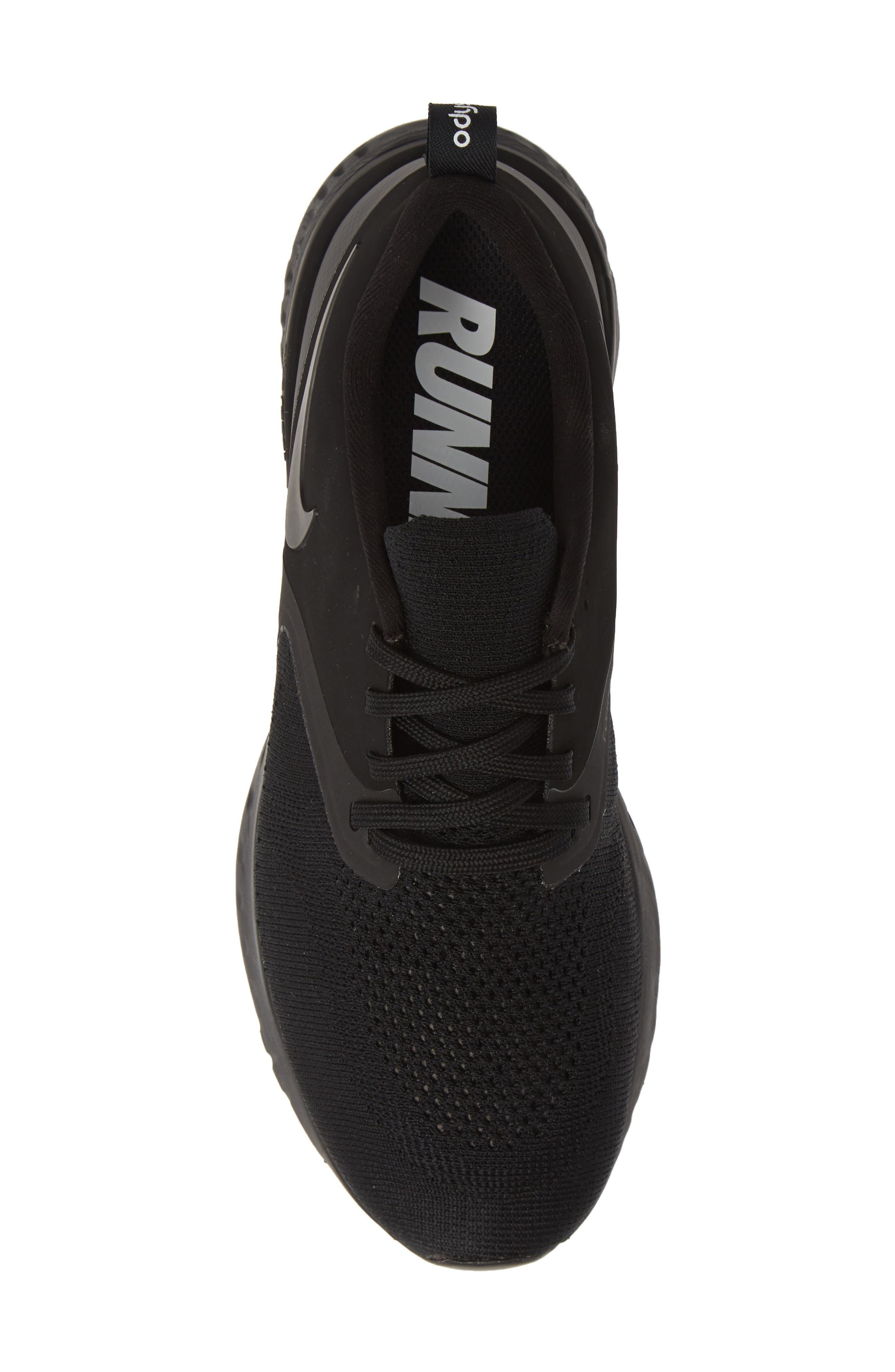 ,                             Odyssey React 2 Flyknit Running Shoe,                             Alternate thumbnail 5, color,                             BLACK/ BLACK/ WHITE