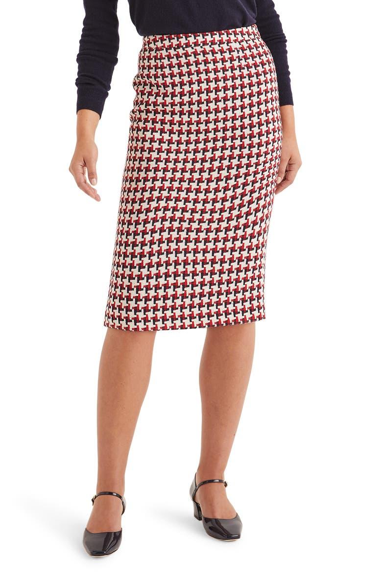 BODEN Clara Pencil Skirt, Main, color, RED/ NAVY WINDMILL