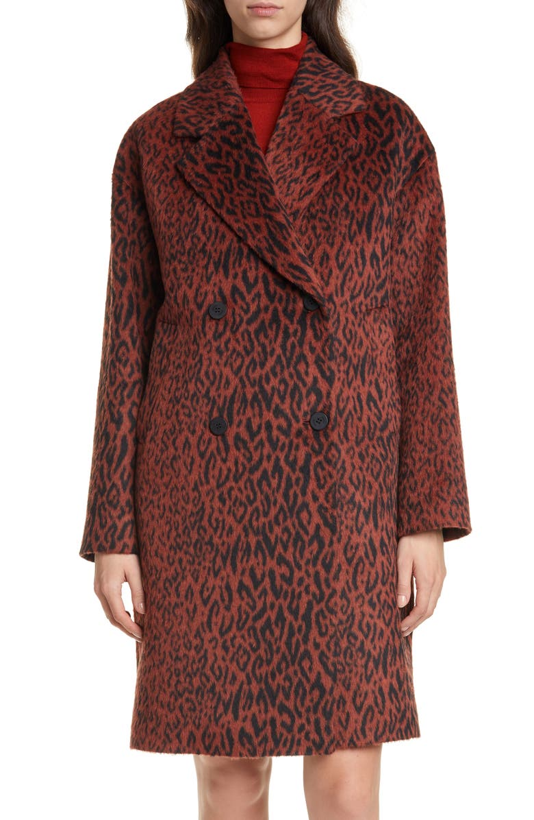 HUGO Marca Animal Print Faux Fur Coat, Main, color, RUST/ COPPER
