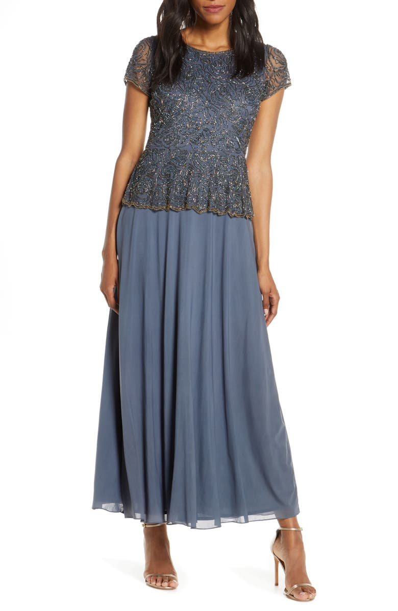 PISARRO NIGHTS Beaded Mock Two-Piece Gown, Main, color, GREY