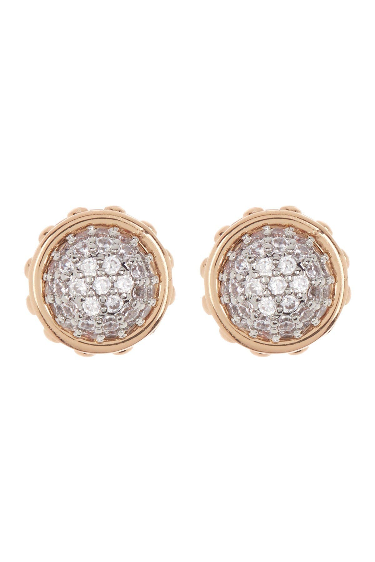 Image of Rebecca Minkoff Two-Tone Pave Dome Stud Earrings
