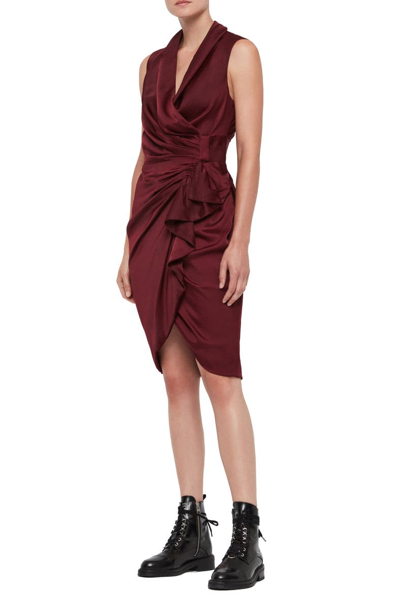 ALLSAINTS Cancity Dress, Main, color, OXBLOOD RED
