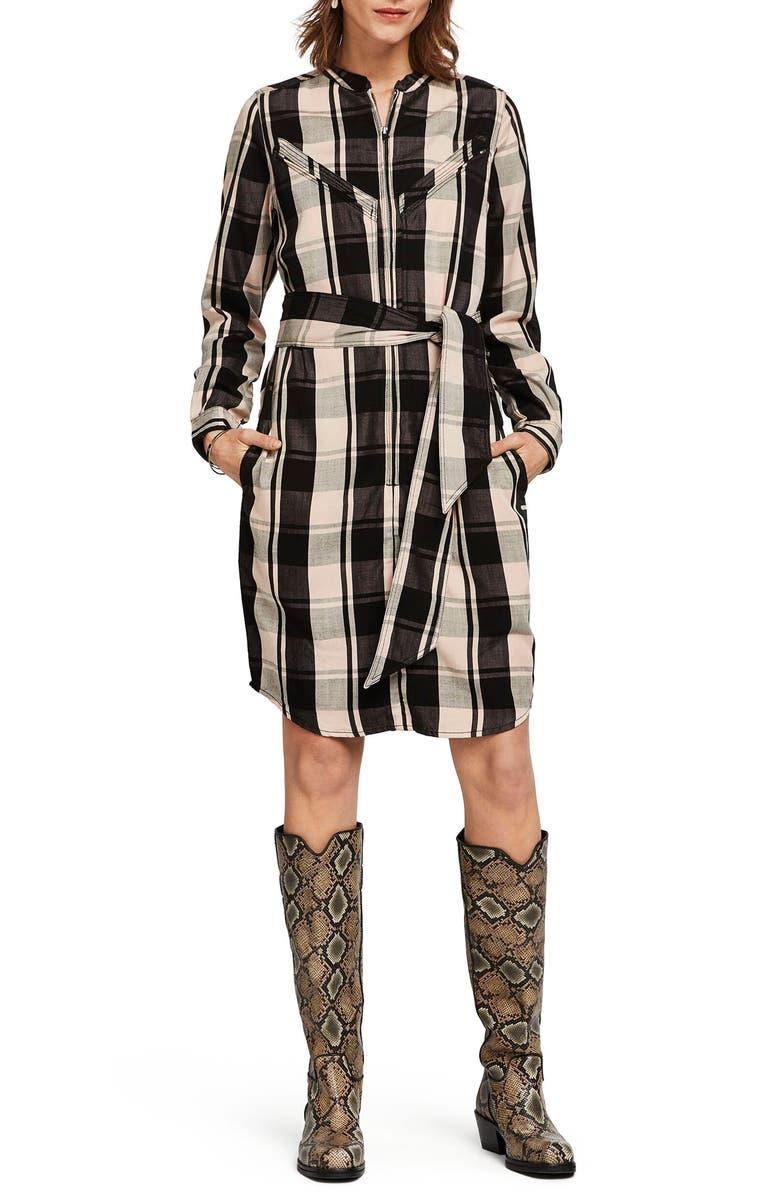 SCOTCH & SODA Drapey Tencel<sup>®</sup> Lyocell Long Sleeve Shirtdress, Main, color, COMBO A