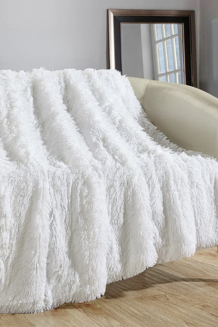 """Image of Chic Home Bedding Alaska Shaggy Faux Fur Decorative Throw Blanket - 50"""" x 60"""" - White"""