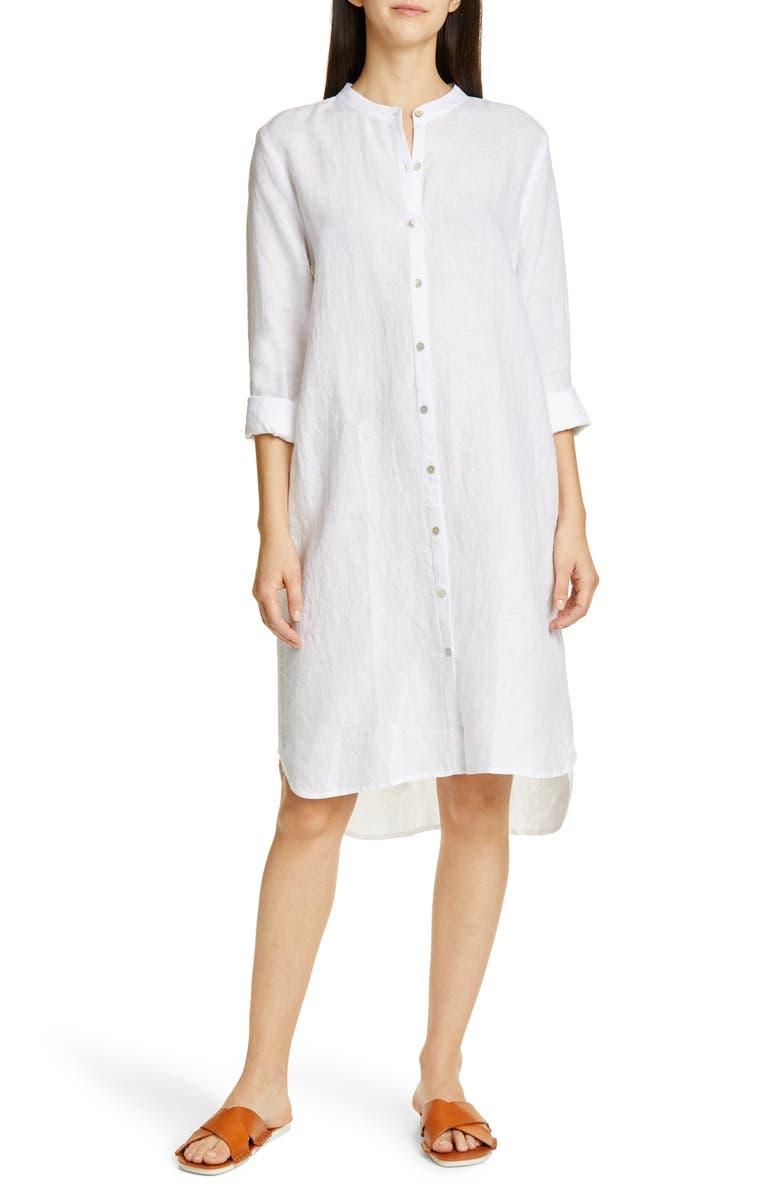 EILEEN FISHER Button Down Organic Linen Shirtdress, Main, color, 100