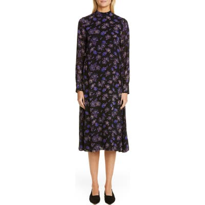 Ganni Floral Print Georgette Long Sleeve Midi Dress, Black