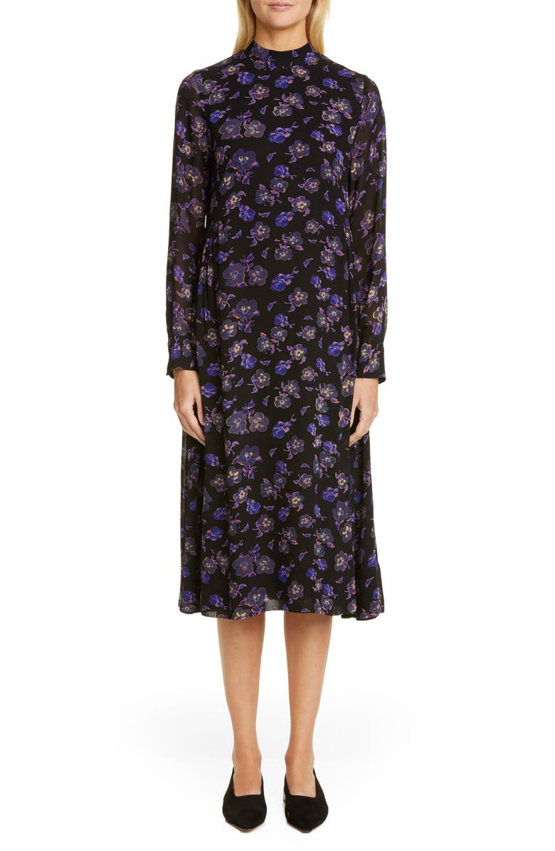 GANNI Floral Print Georgette Long Sleeve Midi Dress, Main, color, BLACK