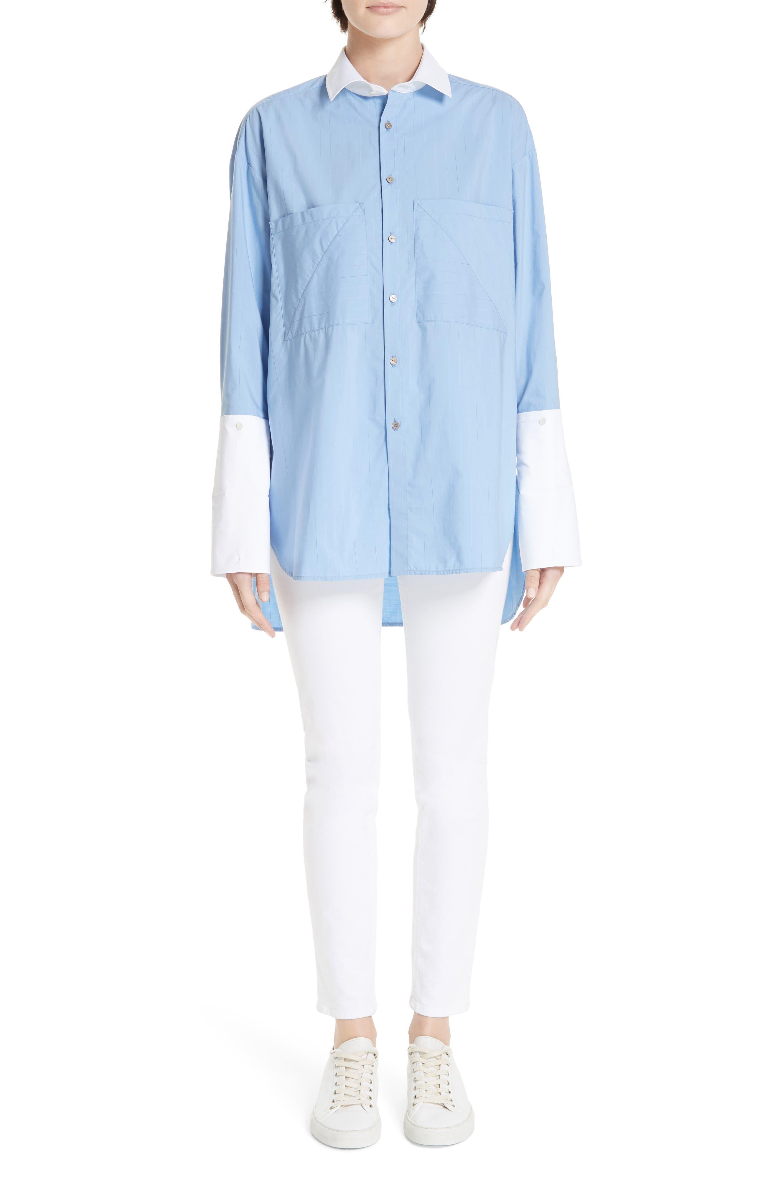 ,                             Oversize Boyfriend Shirt,                             Alternate thumbnail 7, color,                             BLUE RAIN STRIPE WITH WHITE
