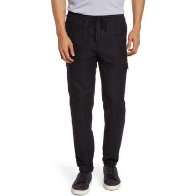 Acyclic Straight Leg Drawstring Flannel Cargo Pants, Blue