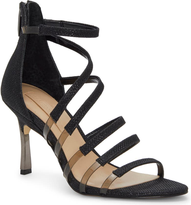 IMAGINE BY VINCE CAMUTO Roselle Metallic & Clear Strap Sandal, Main, color, BLACK FABRIC