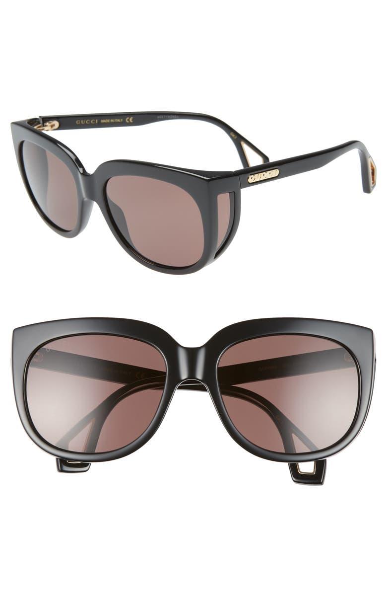 GUCCI 57mm Cat Eye Sunglasses, Main, color, SHINY BLK MAZZU/BRN SOLID