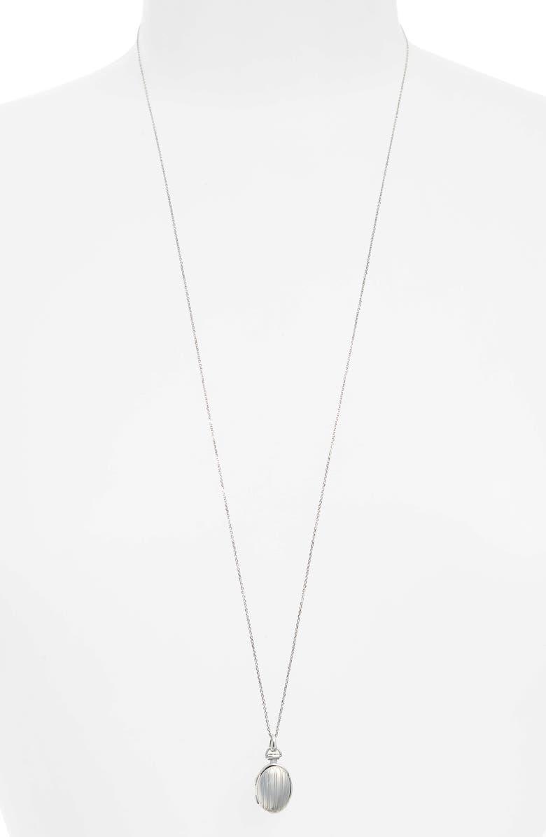 MONICA RICH KOSANN Petite Locket Necklace, Main, color, STERLING SILVER