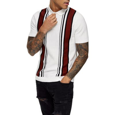 Topman Ronson Stripe Polo, White