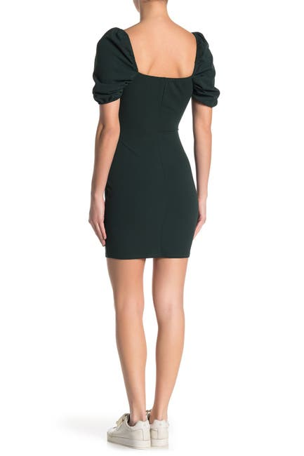 Image of BAILEY BLUE V-Wire Puff Sleeve Scuba Crepe Dress