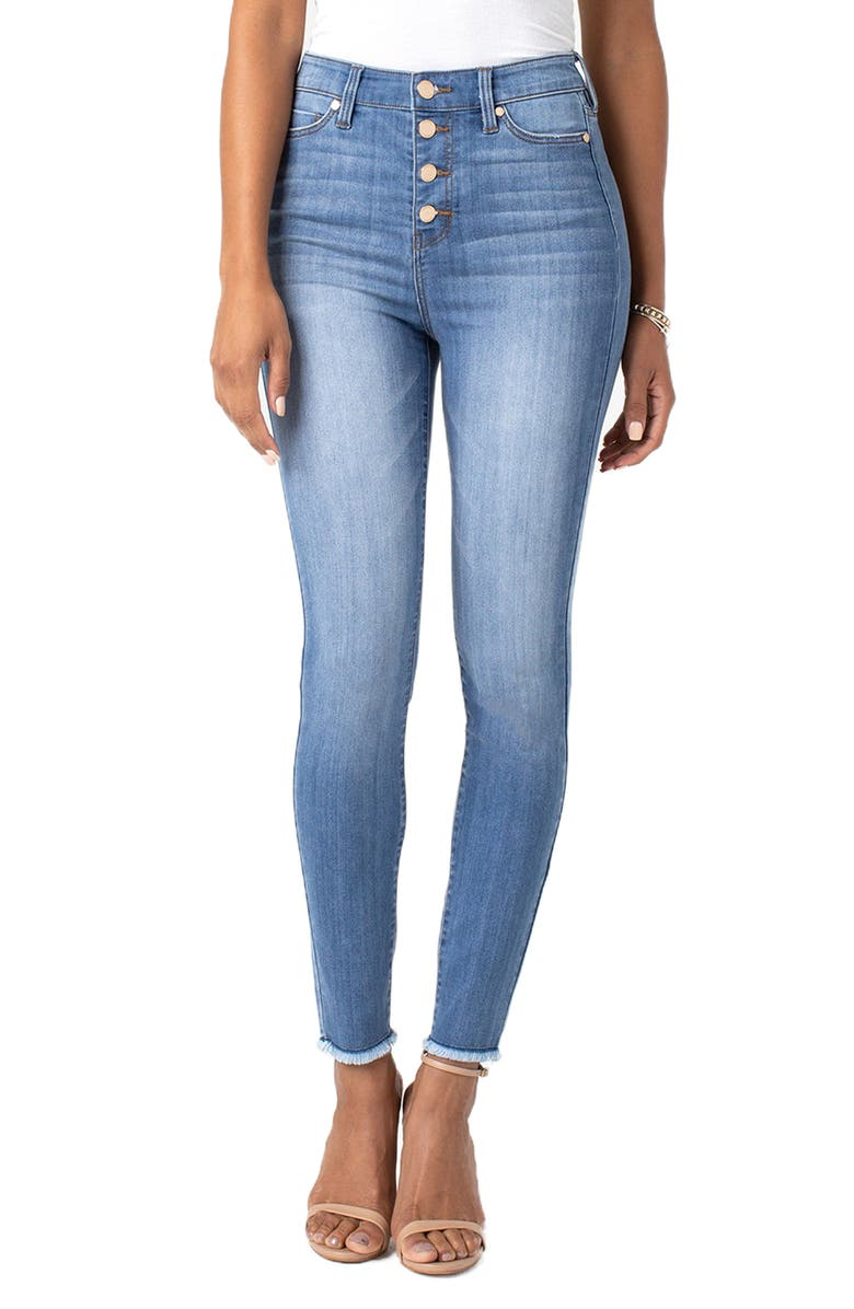 LIVERPOOL Bridget Button Fly High Waist Skinny Jeans, Main, color, 404