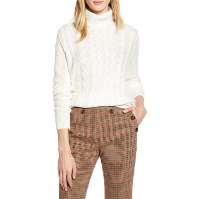 Halogen X Atlantic-Pacific Cable Knit Turtleneck Sweater, Ivory (Nordstrom Exclusive)