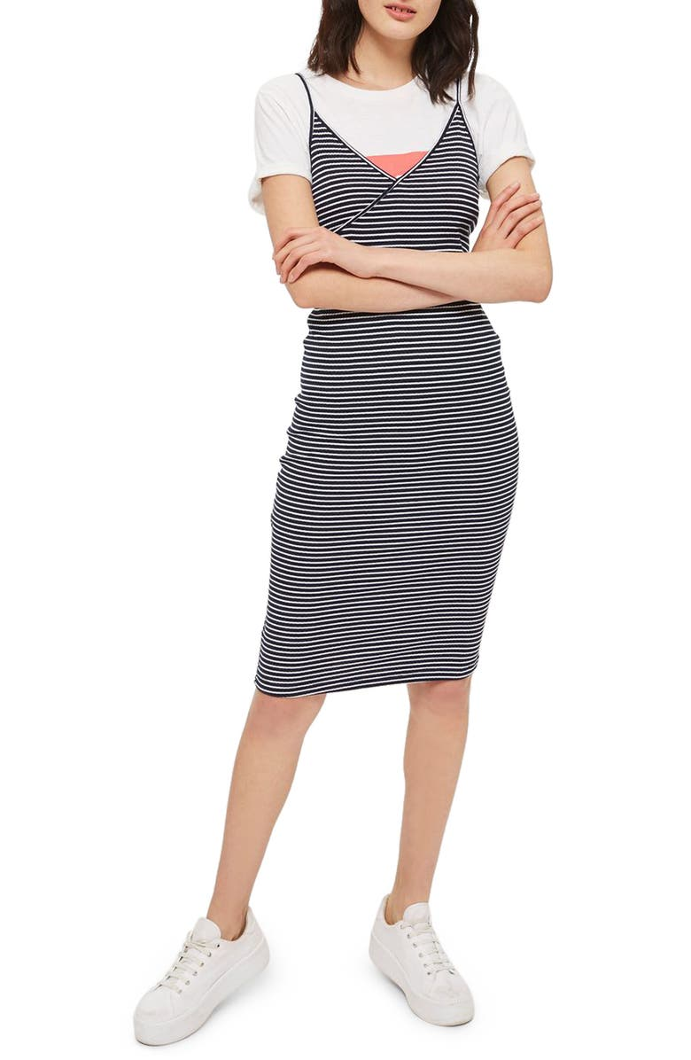 TOPSHOP Kaia Stripe Tank Dress, Main, color, 410