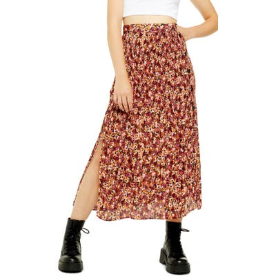 Topshop Floral Pleated Midi Skirt, US (fits like 10-12) - Red