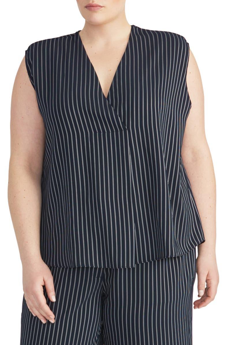 RACHEL ROY COLLECTION V-Neck Stripe Popover Top, Main, color, 411