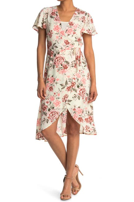 Image of 14TH PLACE Short Sleeve Floral Wrap Dress